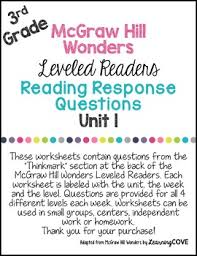 3rd grade wonders mcgraw hill leveled readers reading response