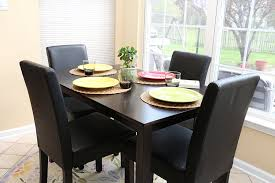 amazon com 5 pc black leather 4 person table and chairs brown