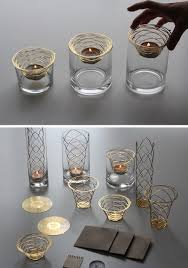 these metal candle holders start out as a brass disc contemporist