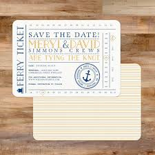 nautical save the date wedding save the date nautical ferry ticket anchor w