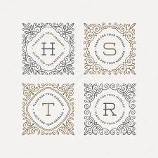 set of monogram logo template with flourishes calligraphic elegant