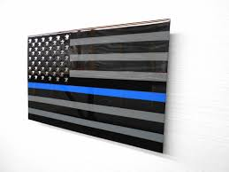 Subdued American Flag With Thin Blue Line Thin Blue Line Liquid Metal Designs Inc