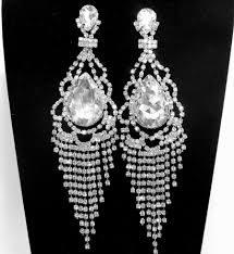 Black And Silver Chandelier Earrings Art Deco Rhinestone Bridal Earrings Free Shipping Long Wedding