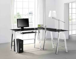 clear modern office desk with glass frame and board and white