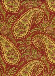 Maroon Upholstery Fabric Waverly Red Upholstery Fabric Paisley Woven Red Green Gold