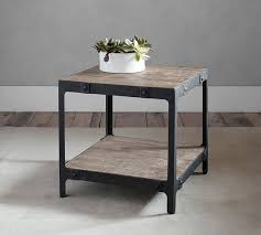 gray wood side table clint reclaimed wood side table pottery barn