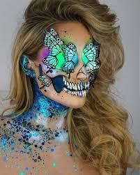 halloween crystal ball with head holographic unicorn skull halloween makeup popsugar beauty
