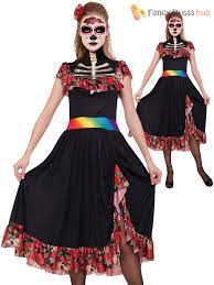 halloween costume mexican skeleton day of the dead lady halloween fancy dress costume size 10