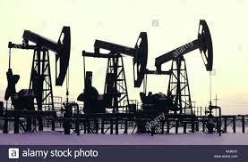 nonworking non working oil derricks in western siberia near surgut russia