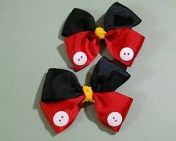 mickey mouse hair bow mickey mouse hair bows set of 2 bows pigtail bows minnie
