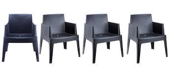 chaise de jardin design chaises de jardin design noires lot de 4 lali miliboo