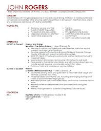 restaurant general manager resume sample for server position