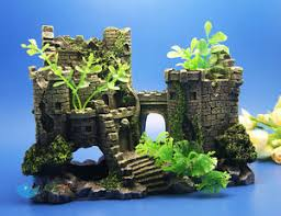 aquarium decoration the ruins ancient castle for fish tank resin