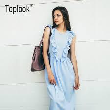 toplook ruffles pleated women summer dress 2017 sky blue elegant