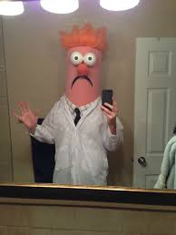 hand made halloween costume beaker from the muppets halloween