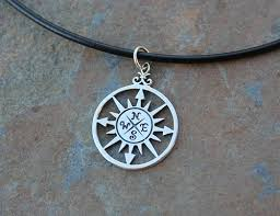 handmade silver charm necklace images True north necklace sterling silver compass rose black leather jpg