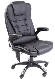 kidzmotion black leather high back reclining office chair with massage