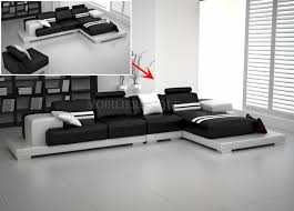 canapé contemporain design canapé d angle en cuir en deux teintes modèle
