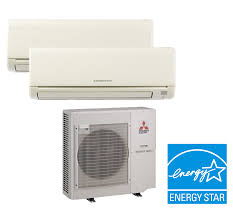 mitsubishi electric cooling and heating mitsubishi mxz 2c20na 2 zone heat pump with two 2 9 000 btu