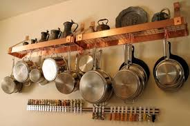 kitchen shelf organization ideas captivating hanging pots and pans on wall in conjunction with