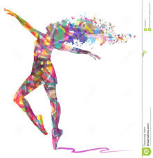 abstract silhouette of dancer and musical notes stock illustration
