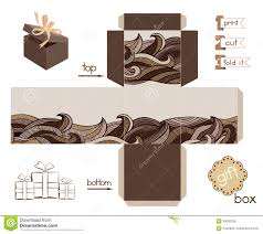 printable gift box with abstract wavy pattern stock vector image