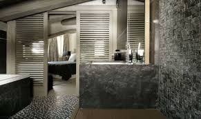 river rock bathroom ideas stone bathroom designs stainless steel sliding shower door blue