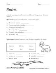 similes and metaphors this product contains 4 worksheets that ask
