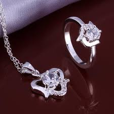 heart ring necklace images Silver plated cubic zirconia heart ring and pendant necklace jpg