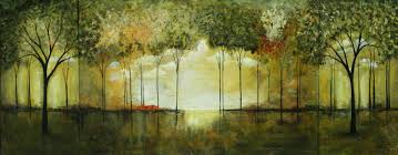 original abstract modern landscape made abstract landscape forest painting original green woods