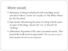 beowulf vocabulary kenning a metaphorical compound noun or