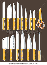 set various kitchen knives doodle style stock vector 314135672