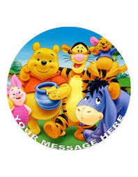 winnie the pooh cake topper winnie the pooh personalised cake topper 8 circle wafer icing
