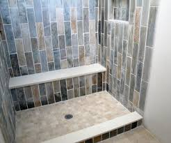 slate shower laid vertical on a brick bond caesar seat and