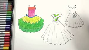 dresses coloring pages for girls how to draw dresses up girls