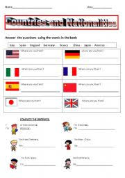 esl kids worksheets countries and nationalities test