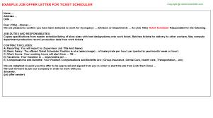 ticket scheduler offer letter