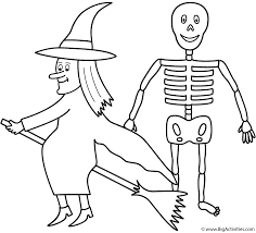 witch with skeleton coloring page halloween