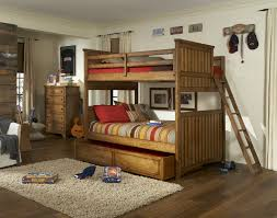 natural oak wooden bunk bed with trundle bed built in wooden