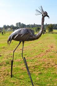 black crowned crane garden sculpture heron crane sculptures