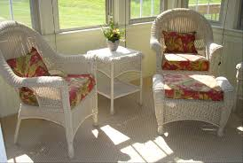 Garden Treasures Chair Cushions by Yellow And Red Fabric Cushions Set Which Suitable For White Wicker