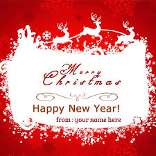 name on merry christmas happy new year wishes cards
