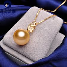 diamond pearl pendant necklace images Pearl jewelry golden south sea pearl pendant perfect round 11 12mm jpg