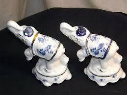 pair of white blue ceramic gold trimed elephant figurines