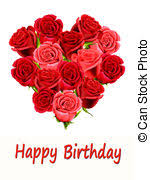 drawing of birthday card with roses and heart birthday card with