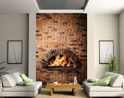 stickers trompe oeil mural sticker mural géant cheminée au feu de bois art déco stickers