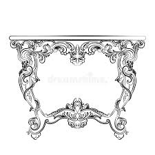 royal baroque vector classic table furniture with ornaments stock