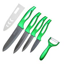 jeslon ceramic knives set 9 peice kitchen chef u0027s knife green jeslon