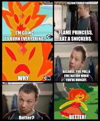 Eat A Snickers Meme - flame princess eat a snickers snickers hungry commercials