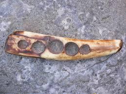 alaskan eskimo 1st nations fossilized warlus ivory sled runner